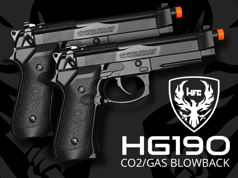 hg190 airsoft pistols blowback gas co2