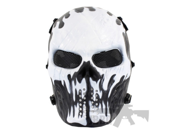 Painted Skull Airsoft Flames Team Mask