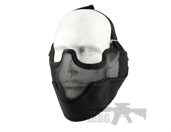 WoSport Strike Metal Mesh Lower Face Mask Black