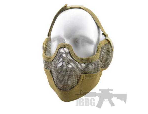 WoSport Strike Metal Mesh Lower Face Mask Tan