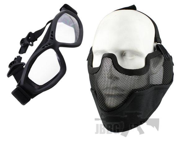 WoSport Strike Face Mask and Bravo Goggles Black