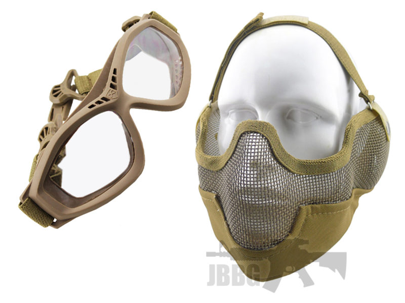 WoSport Strike Face Mask and Bravo Goggles Tan