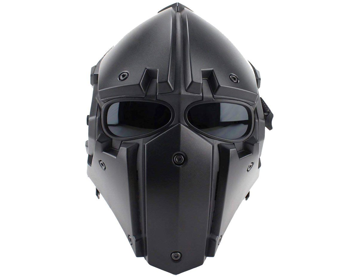 Airsoft Tactical Helmet with Full Face Mask – BLACK