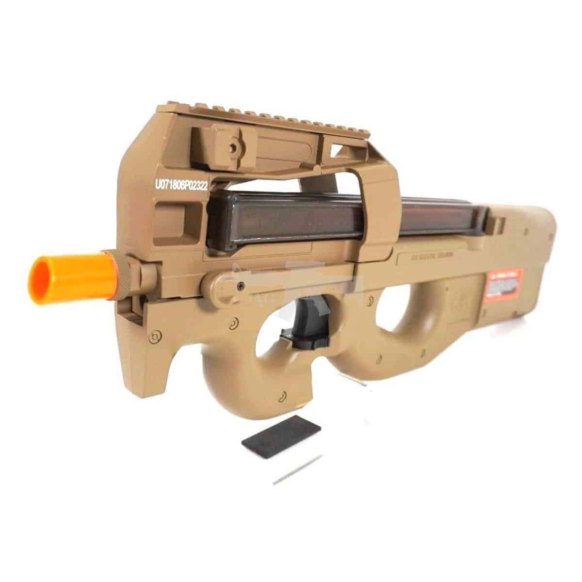 Uploaded ToFN HERSTAL P90 METAL POLYMER AIRSOFT ELECTRIC GUN IN TAN