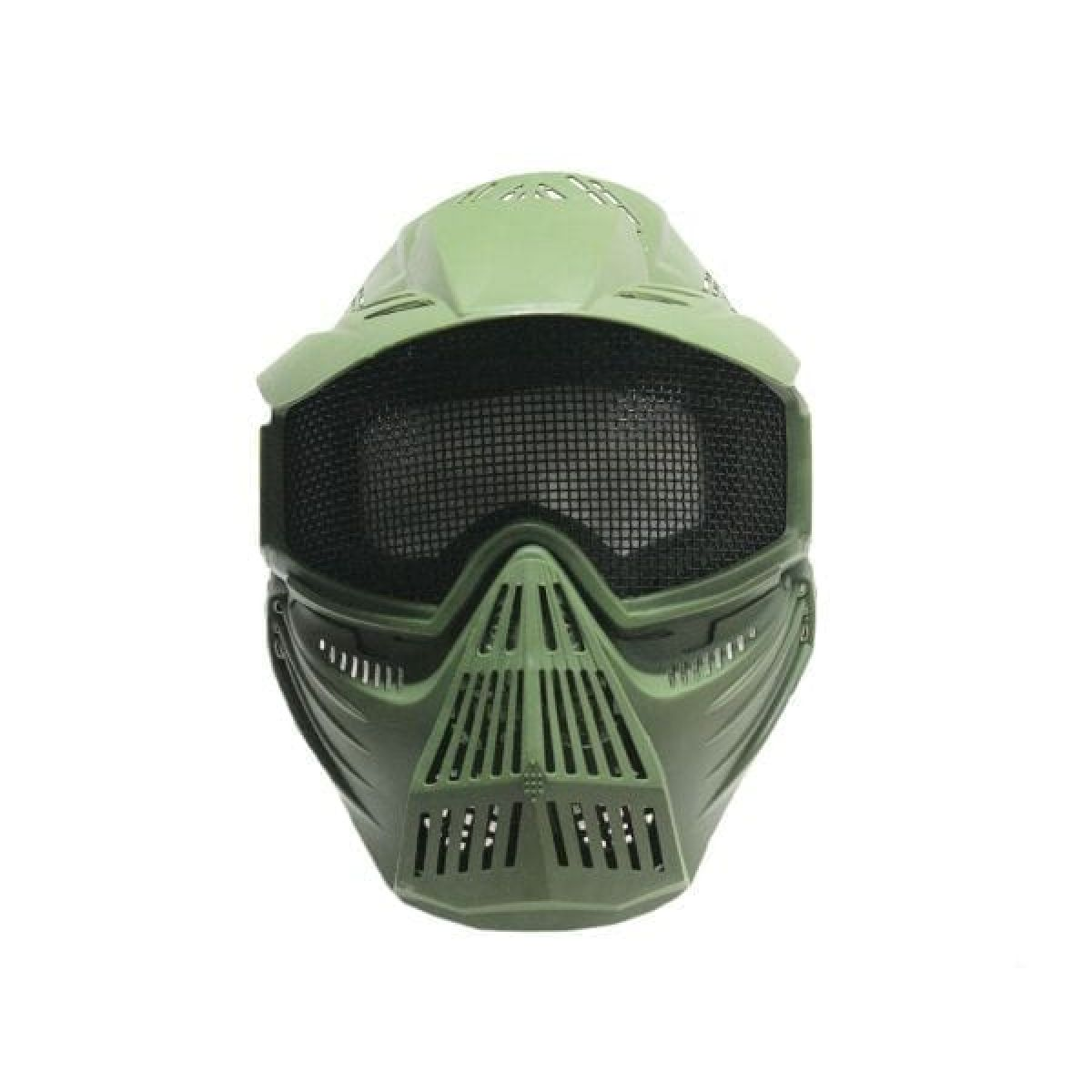 full face airsoft mask mesh green
