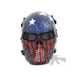PAINTED SKULL AIRSOFT USA TEAM MASK captain america