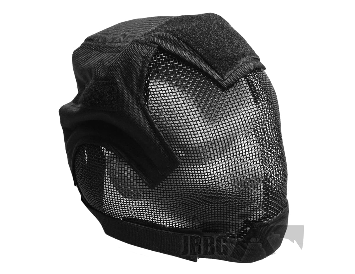 Airsoft Fencing Safety Mesh Mask Full Face and Ears Protection Black