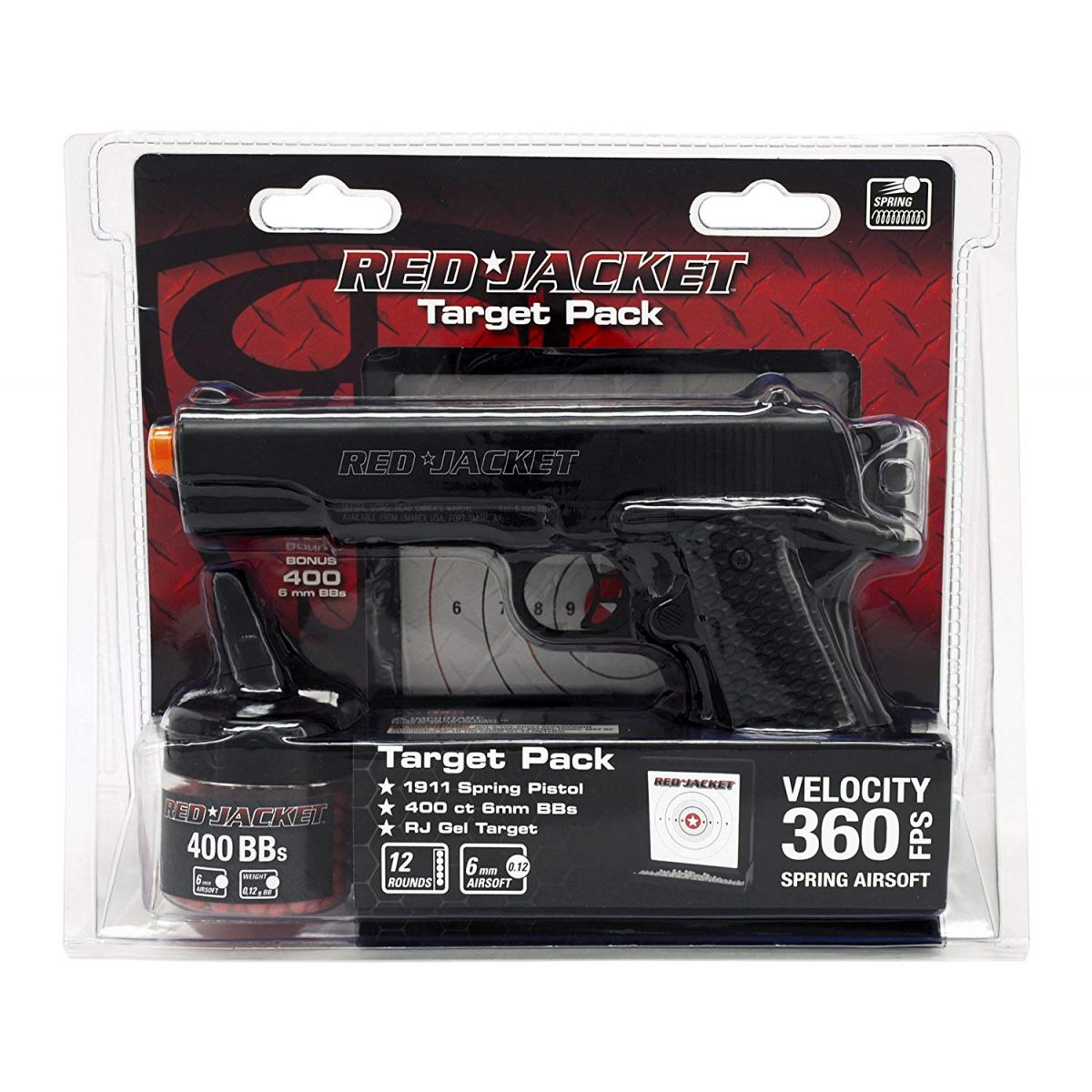 Umarex Red Jacket M1911 6mm Airsoft Spring Pistol Target Pack bundle