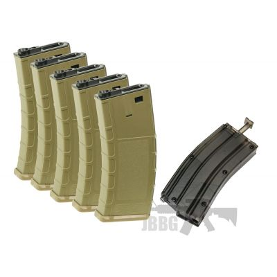SRC SET OF 5 X 140 Rounds M4 / M16 AEG Mid Cap A Grade Magazine – Tan