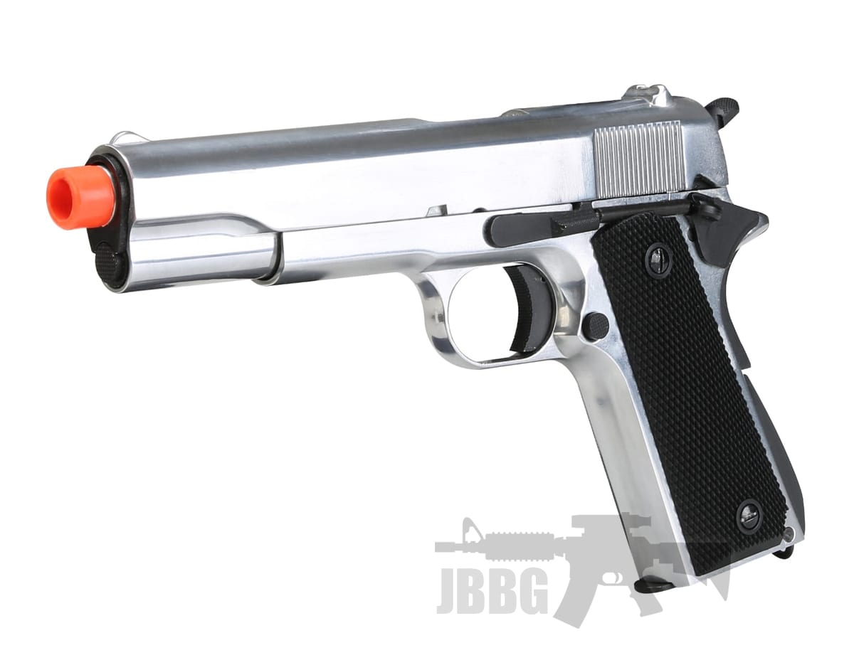 SR1911 Gas Blowback Full Metal Silver Airsoft Pistol – 6MM