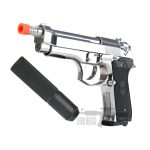 SR92 Co2 Blowback Silver Airsoft Pistol with Silencer – 6MM
