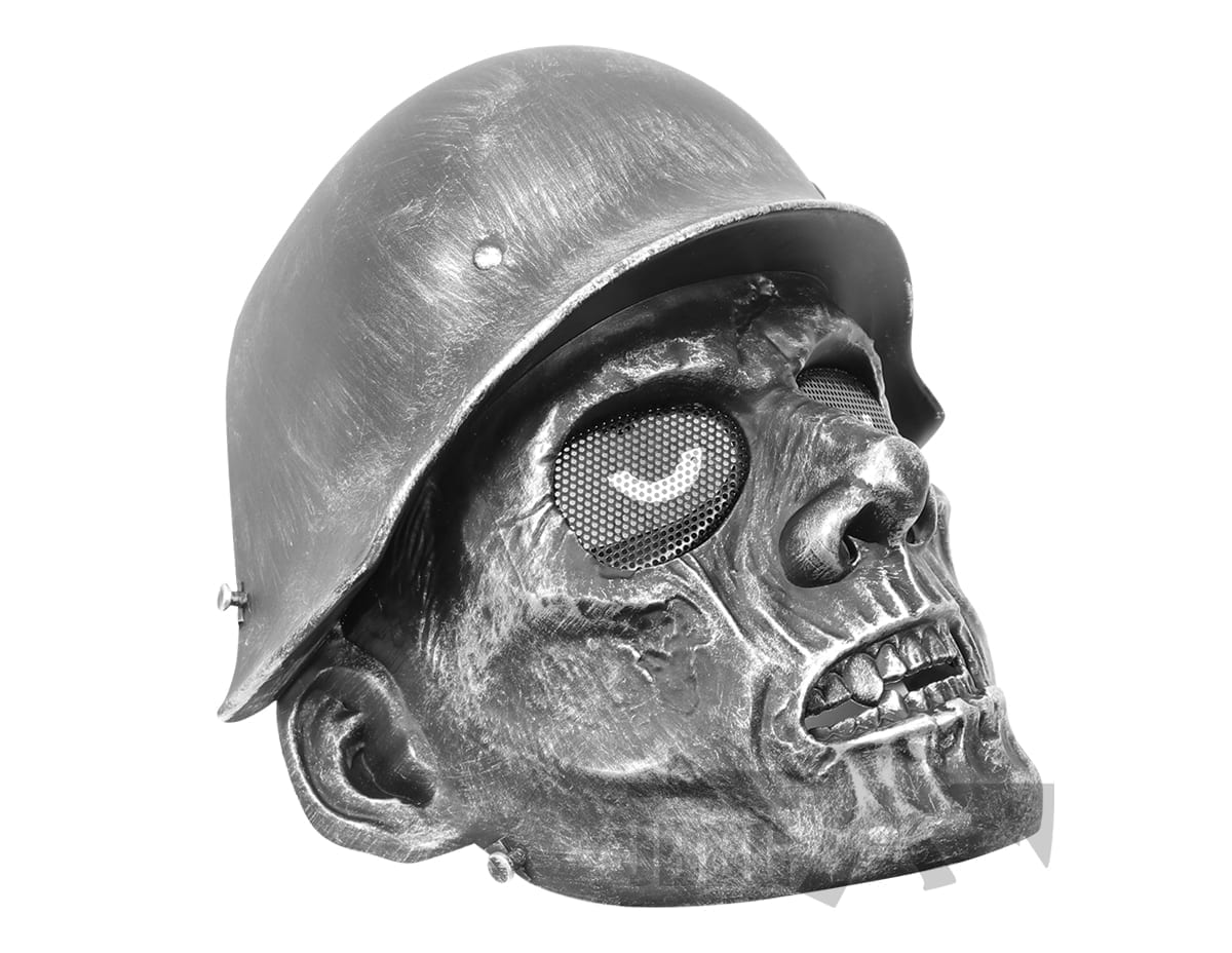 Army Zombie Airsoft Mask Silver Black