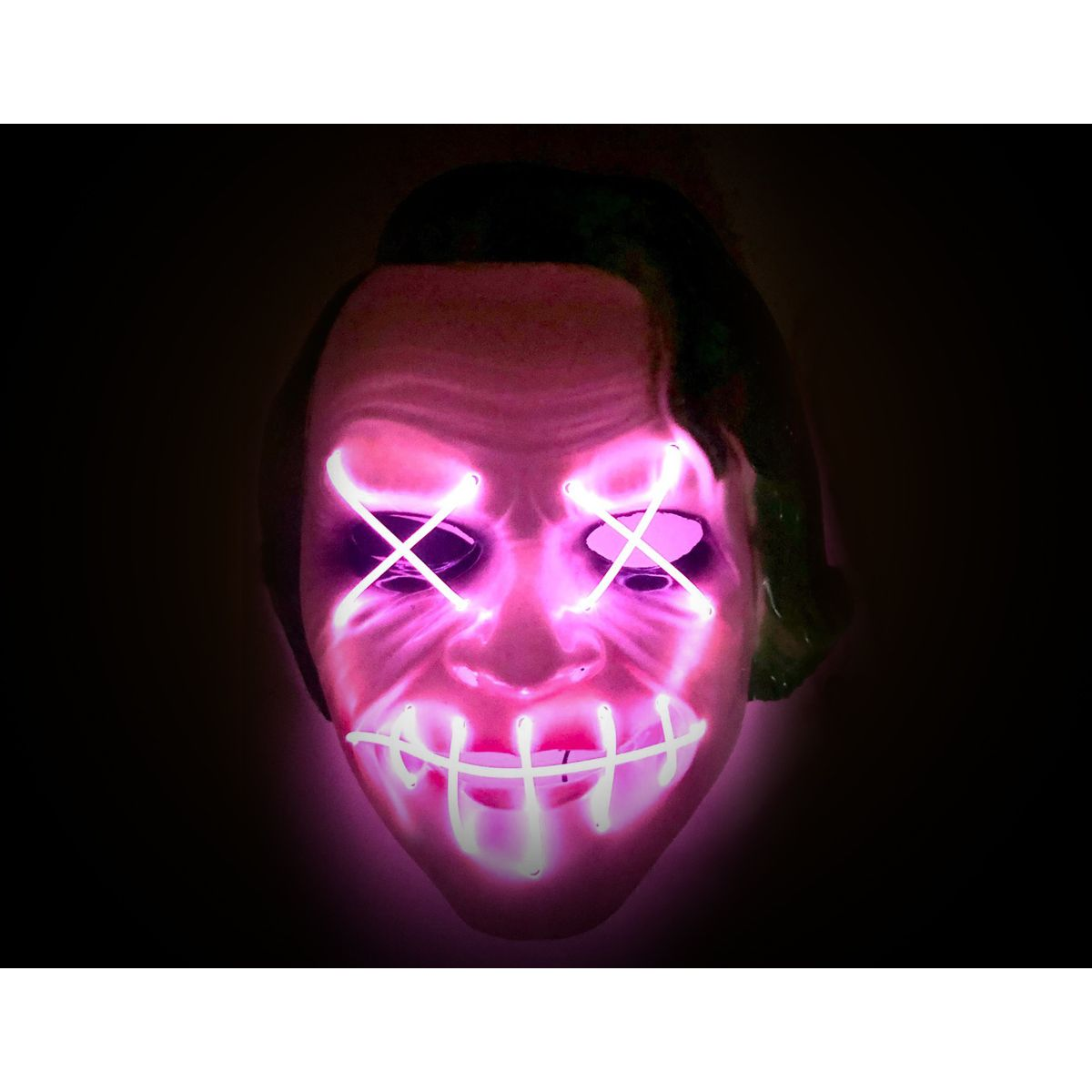 LED Purge Mask Joker with Pink X